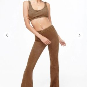 Studded Faux Suede Crop Top & Pant Set